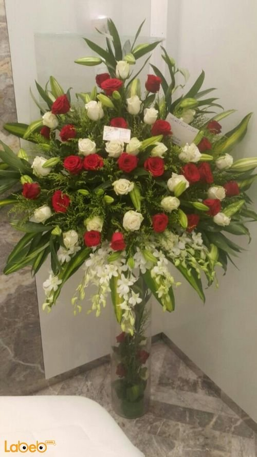 Natural flowers Glass vaze Large bouquet Red & White