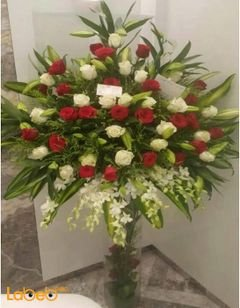 Natural flowers vaze - Glass vaze - Large bouquet - Red & White