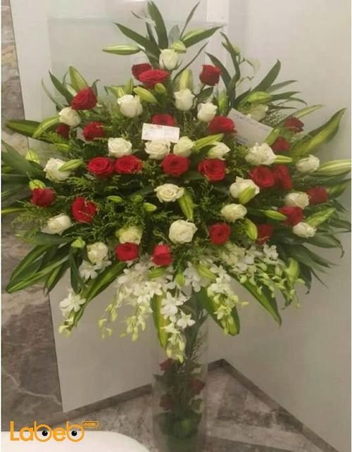 Natural flowers vaze Glass vaze Large bouquet Red & White
