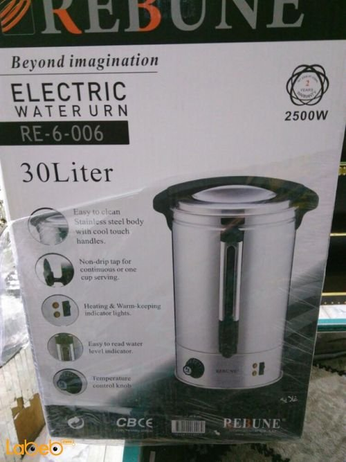 Rebune Electric Water Urn 30L 2500W Stainless RE_6_006