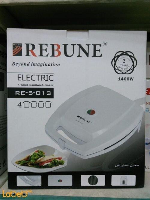 صانع ساندوتش كهربائي REBUNE قدرة 1400 واط أبيض موديل RE_5_013