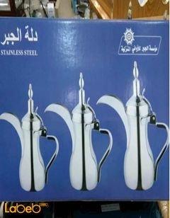 دلة قهوة - دلة الجبر - ستانلس ستيل - مقاس 32/40/48 - لون فضي
