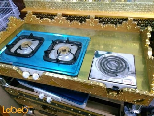 غاز  نقال يشمل 2 شعلات غاز شعلة كهربائية 1*0.52 متر ذهبي