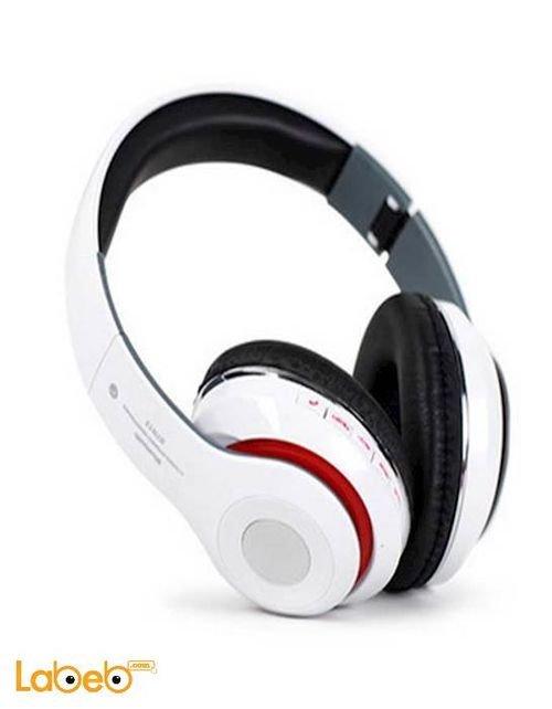 سماعات رأس بلوتوث ستيريو لاسلكية كرت ذاكرة أبيض STN-13