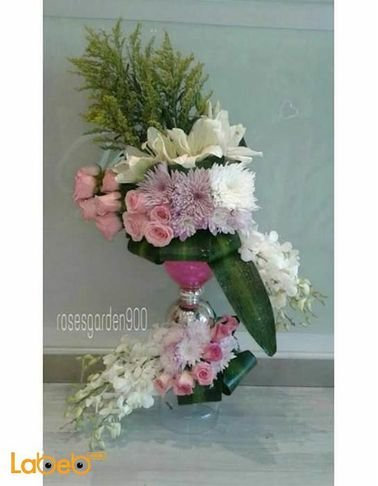 Natural flowers vaze with base - Purple Pink and White