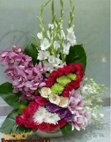 Natural flowers bouquet with beautiful base pink red & white colors