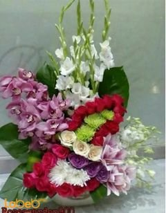 Natural flowers bouquet with beautiful base - pink red & white