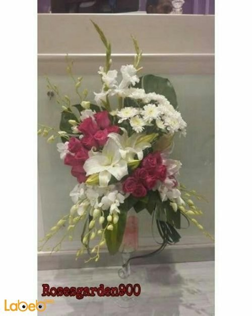 Natural flowers vase with Glass base White Red and Pink
