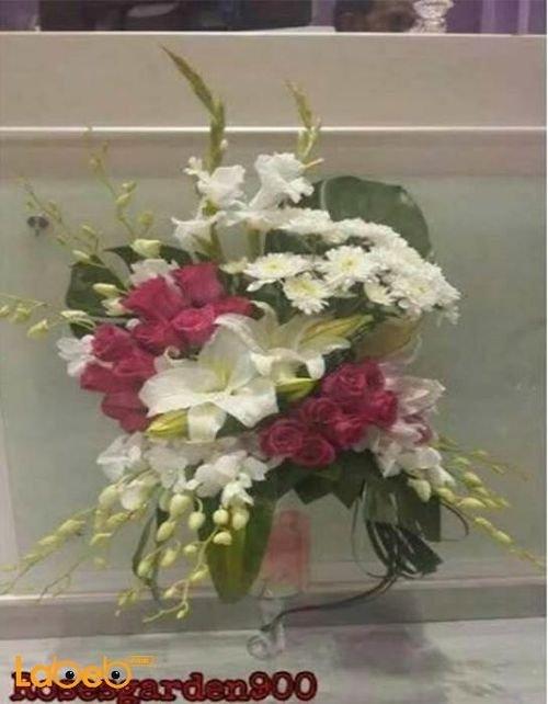 فازة ورود طبيعية مع قاعدة زجاجية أحمر أبيض وزهري