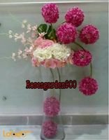 Natural flowers vase with Glass base White Red & Pink