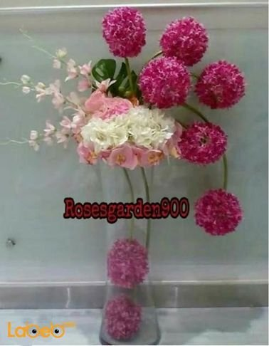 Natural flowers vase - with Glass base - White Red and Pink