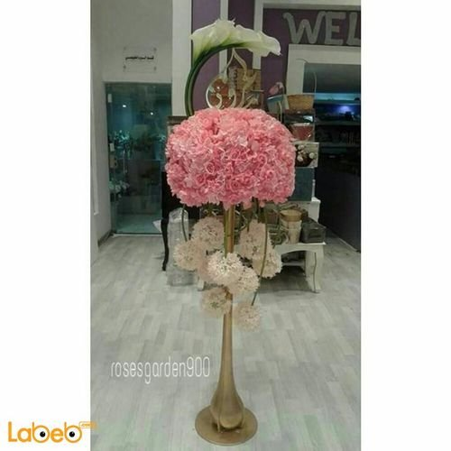 Natural flowers vase with Gold base White and Pink