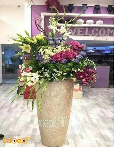 Natural flowers vase - with Gold base - White Pink & Purple