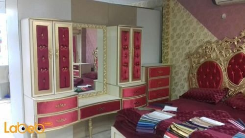 Bedroom 7 pieces Bed Malaysian Wood Gold & Red 2x2m bed size