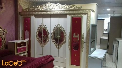 Bedroom 7 pieces Malaysian Wood Gold & Red