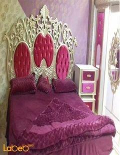 غرفة نوم زوجية - 7 قطع - خشب ماليزي - ذهبي وأحمر - سرير 2*2 متر