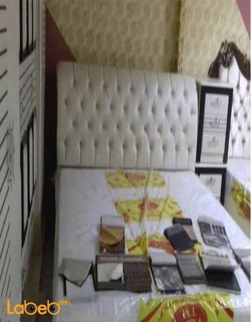 غرفة نوم زوجية من 7 قطع خشب ماليزي ابيض وأسود سرير 2*2 متر