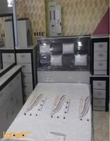 غرفة نوم زوجية من 7 قطع خشب ماليزي فضي وأسود سرير 2*1.8 متر