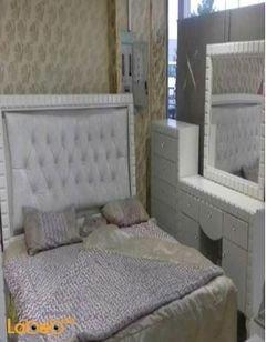 غرفة نوم زوجية - 7 قطع - خشب ماليزي - اف وايت - سرير 2*2 متر