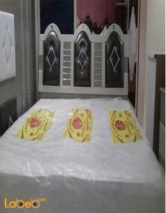 غرفة نوم مزدوجة - 7  قطع - خشب ماليزي - لون بيج وبني