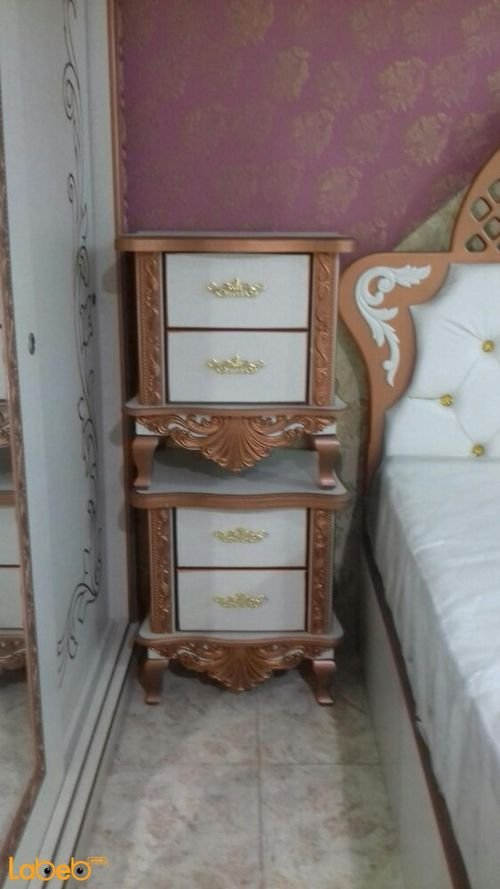 Bedroom 7 pieces Malaysian Wood bed size 2x2m Copper & white