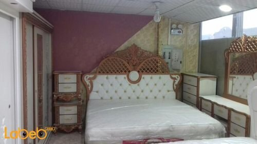 Bedroom 7 pieces Malaysian Wood bed 2x2m Copper and white