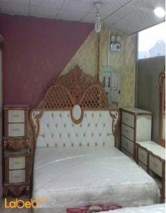 غرفة نوم مزدوجة - 7 قطع - خشب ماليزي - نحاسي وابيض - سرير 2*2متر
