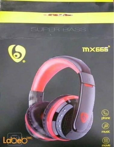 سماعة رأس لاسلكية Super bass لون أسود وأحمر موديل MX666