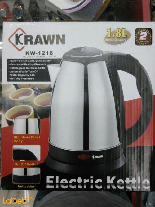 غلاية ماء كهربائية Krawn سعة 1.8 لتر 1500 واط أسود KW_1218