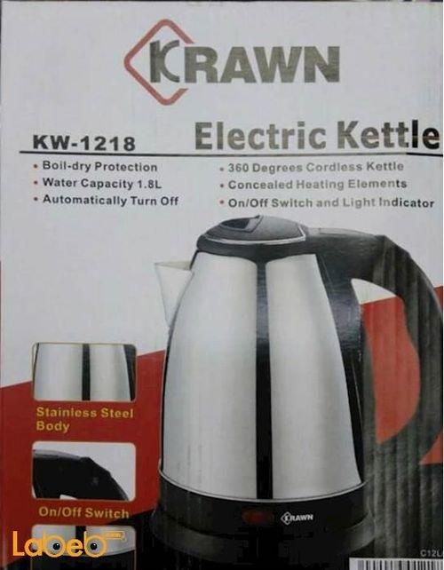 غلاية ماء كهربائية Krawn  سعة 1.8 لتر 1500 واط  KW_1218