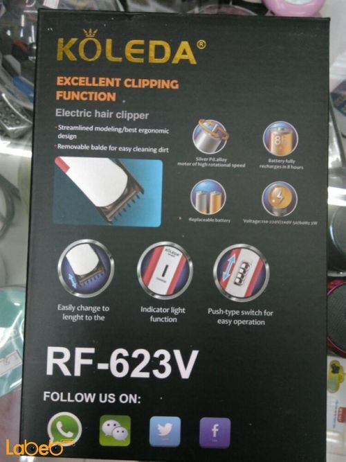 KOLEDA Electric hair clipper specifications 3W White color RF_623V