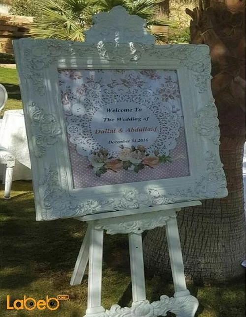 Frame with flowers stand