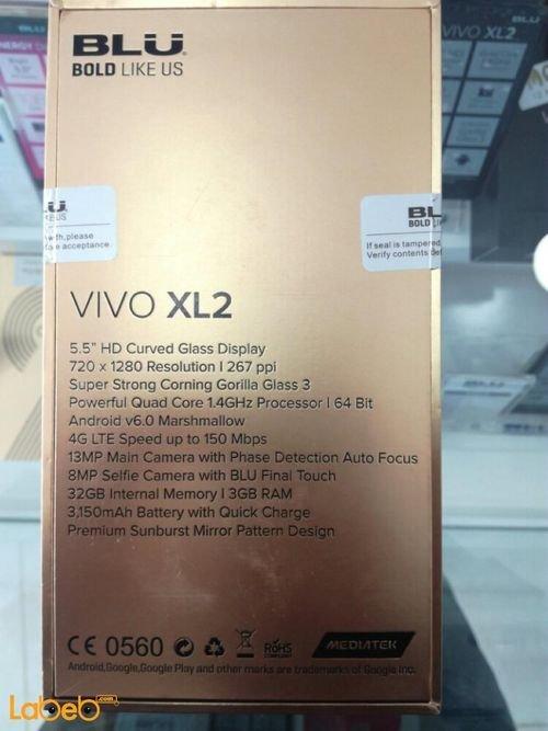 مواصفات موبايل Blu Vivo xl2 ذاكرة 32 جيجابايت 5.5 انش لون ذهبي