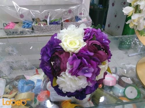 Bride handle designed from Artificial flowers Purple and White colors