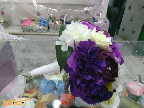 Bride handle Artificial flowers Purple and White colors