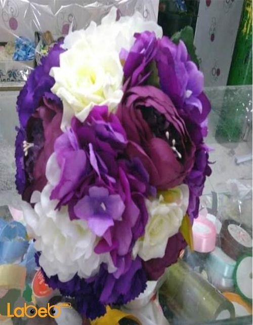 Bride handle Artificial flowers Purple & White colors
