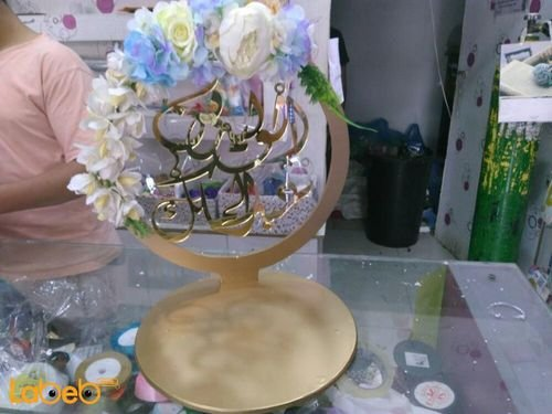 Crown of artificial flowers acrylic Blue White & Yellow