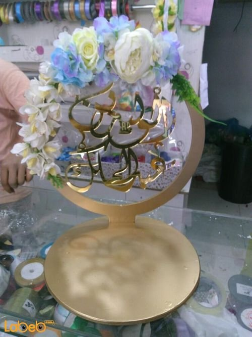 Crown designed of artificial flowers acrylic Blue White and Yellow