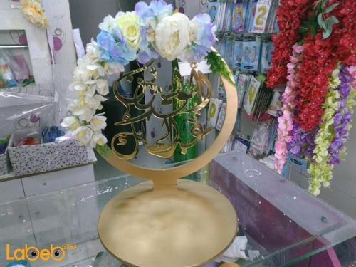 Crown of artificial flowers acrylic Blue White and Yellow colors