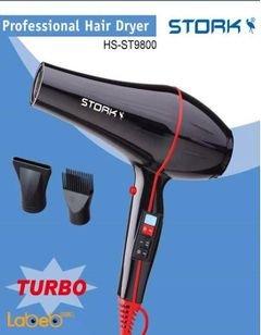 مجفف شعر بروفيشنال من ستورك - 2000 واط - اسود - موديل HS-ST9800