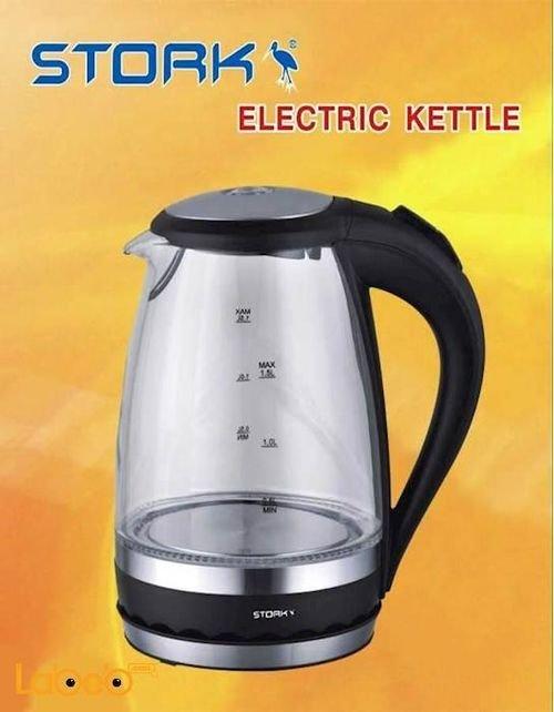 سخان ماء زجاجي كهربائي STORK سعة 1.7 لتر 2000 واط EK-ST8000