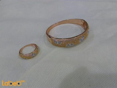 French bracelet with ring golden color crystal inlaid