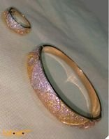 French bracelet with ring golden color crystal inlaid wavy