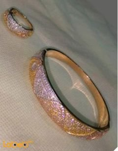 French bracelet - with ring - golden color - crystal inlaid - wavy