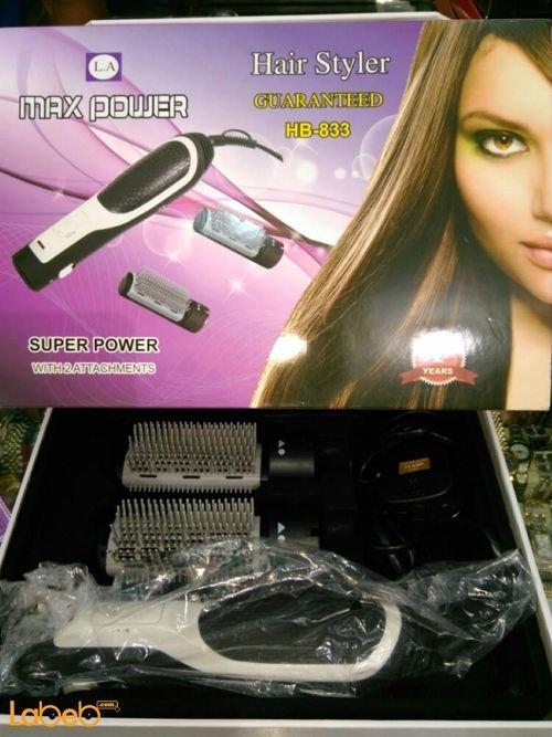 مصفف شعر كهربائي Max power قدرة 1000 واط اسود موديل HB_833