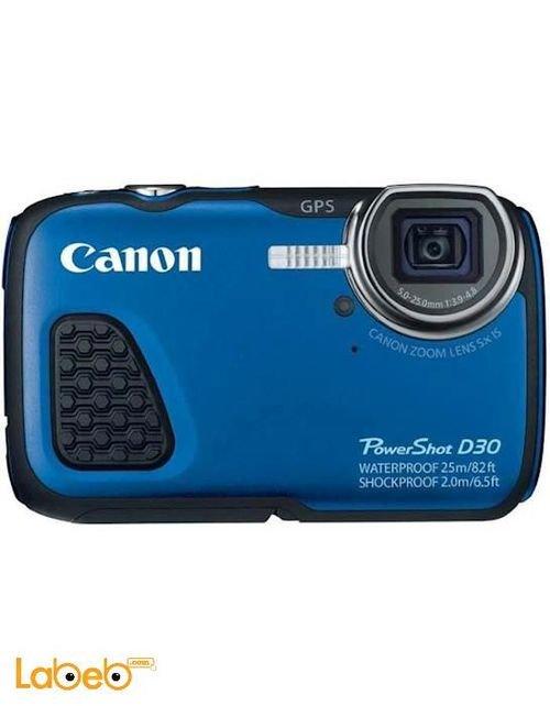 كاميرا كانون رقمية مقاومة للماء لون أزرق موديل PowerShot D30