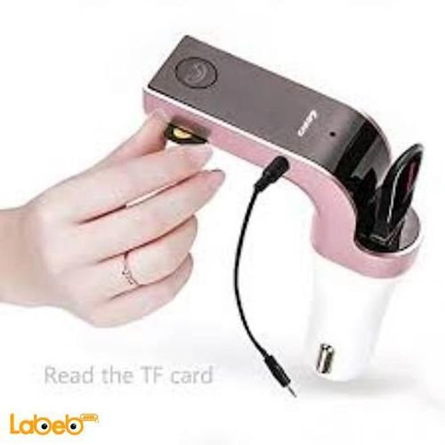 CARG7 Multifunction Handsfree Bluetooth Car Kit charger black&pink