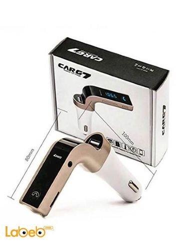 شاحن سيارة بلوتوث CARG7 الطاقة 12 فولت USB لون أسود وذهبي