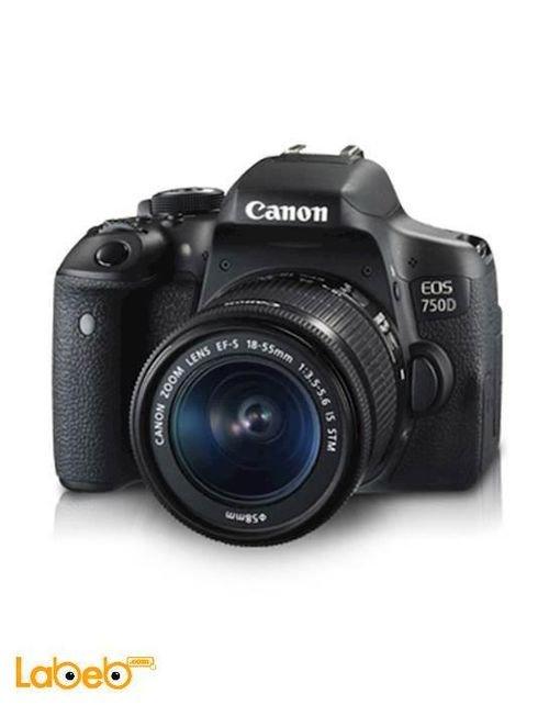 كاميرا كانون الرقمية 24.4 ميجابكسل تقريب 18-55مم أسود EOS-750D