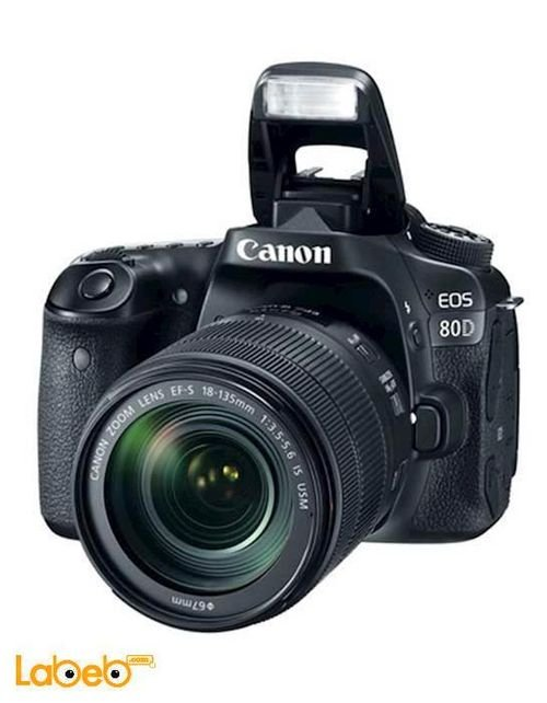 كاميرا كانون الرقمية عدسة 18-135مم 24.2 ميجابكسل أسود EOS 80D